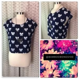 H&M Divided BOW PRINT Crop Top Blouse 4